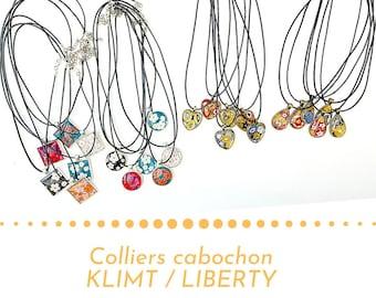 Pandore cabochon necklace, Klimt necklace, liberty necklace, pendant necklace, fancy necklace, gout, heart, women's necklace, glass necklace