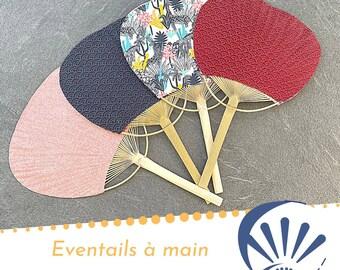 Paddle fan, Japanese fan, fabric and bamboo fan, hand fan, fancy fan, wedding decoration, fan