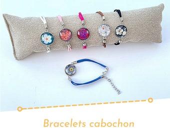 Pandore cabochon bracelet, suede bracelet, personalized jewel, fancy bracelet, flower bracelet, liberty pattern bracelet, glass bracelet