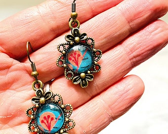 Pandore cabochon earrings, Klimt earring, flower earrings, pendant, fancy earring, glass cabochon