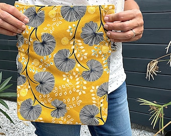 Reversible shoulder sleeve bag with zip closure, fashion accessory, Thevenon homemade fabric