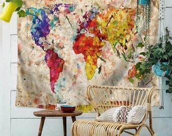 World map tapestry   Etsy