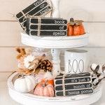 Mini Book Stacks - Halloween Decor - Rae Dunn Halloween - Hocus Pocus - Stamped Books - Halloween - Tiered Tray