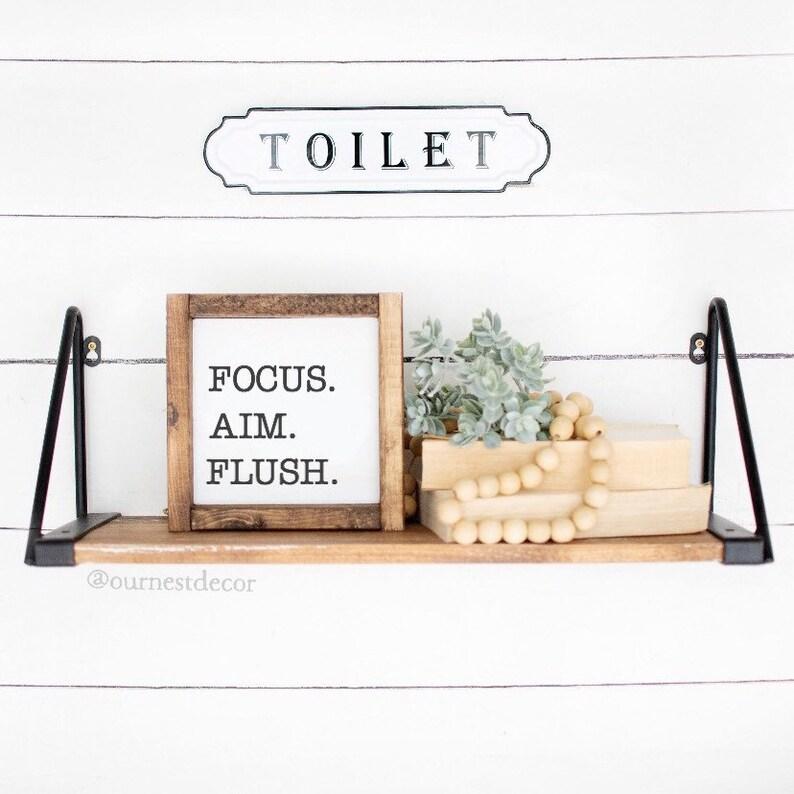 Bathroom Humor Signs  Funny Bathroom Signs  Focus Aim Flush image 0