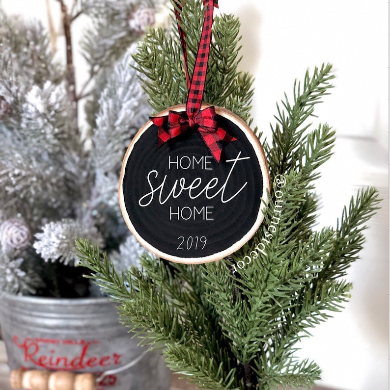 Home Sweet Home Ornament  Wood Slice Ornament  New House  image 0