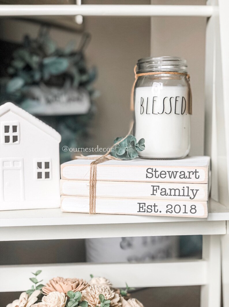 Stamped Books  Personalized Books  Wooden Bookstack  image 0