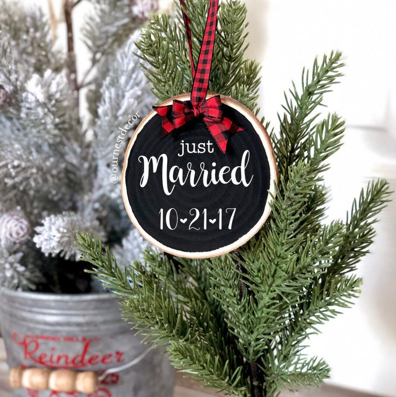 Just Married Ornament  Wedding Gifts  Christmas Ornament  image 0