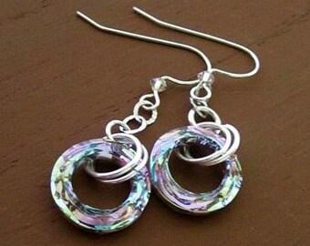 Sterling Silver Swarovski Vitrail Cosmic Earrings