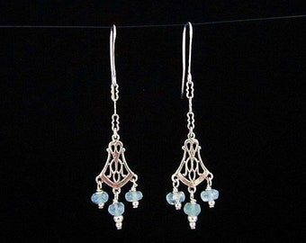 Sky Blue Aquamarine Sterling Silver Earrings