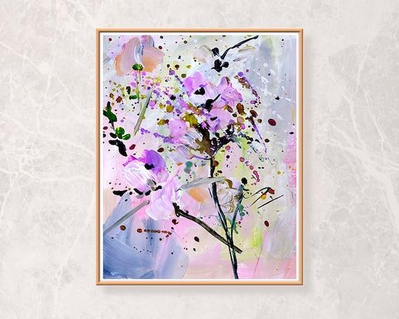 Lila Gemälde Acryl Rosa Blumen Druck Wohnzimmer Wand Art Grau