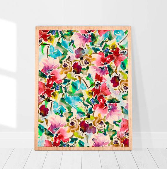 Großes Leinwand-Art-Wohnzimmer Abstrakte Flower Art Print Wasserfarbe  Abstract Wall Art Living Room Décor Colorful Painting Modern On Canvas