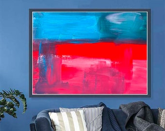 Red Blue Painting Contemporary Art Large Painting Canvas Living Room Wall Art Eclectic Fine Art Giclee Print Oversized Geometric Man 24X36