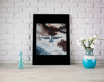oil painting on canvas, airplane in storm clouds
