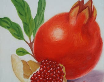 oil painting on canvas, pomegranate fruit