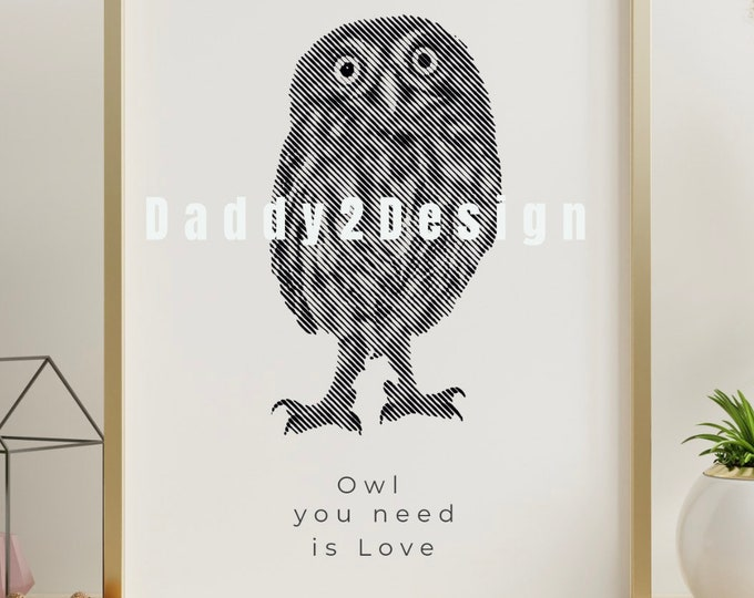 Owls Baby Owl LineArt 1 color photo illusionplot