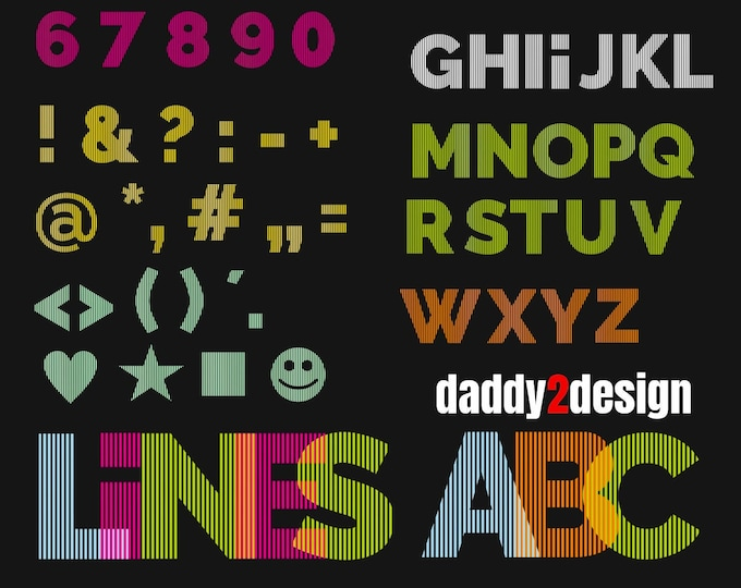 LINE ABC incl numbers and characters - Line Art Effect ABC