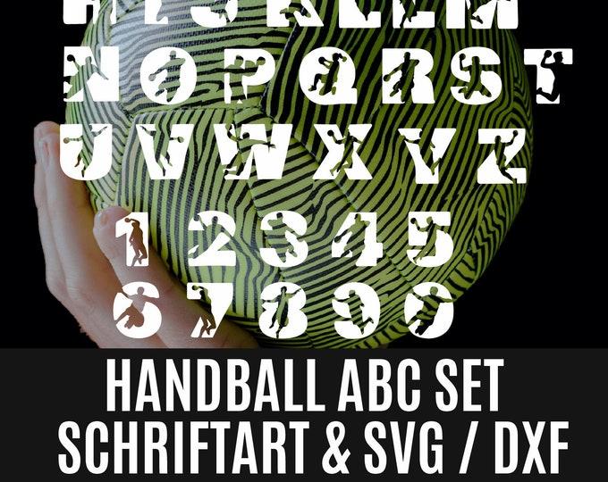 HANDBALL ABC as font AND plotfile svg and dxf