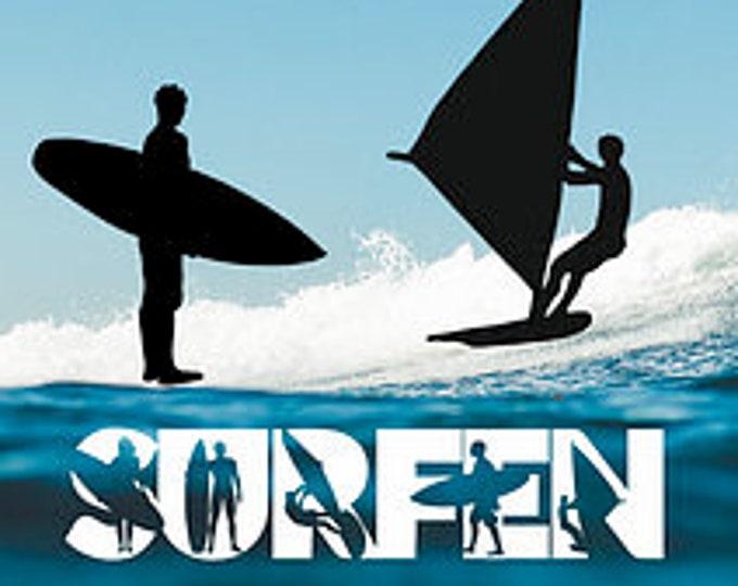 SURFEN SURFING Shadow Font incl Trash & Splash