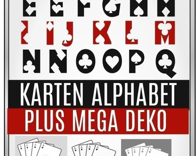 GAME CARDS Cards ABC Alphabet Incl. decoration, as svg, dxf plott file plotter file and png to print