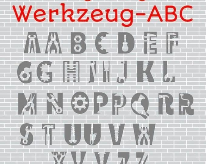 WERKZEUG HANDWERKER ABC Inkl. Deco, as svg, dxf plot file plotter file and png to print