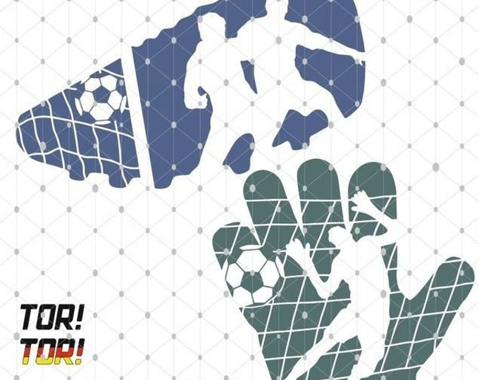 FUSSBALL glossy parade gate shadow sports goalkeeper football boot as SVG DXF plot file and png to print