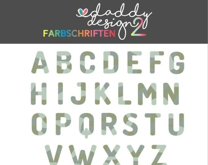 Alphabet Camouflage Or Colorful ABC 0-9 3-5 Colored