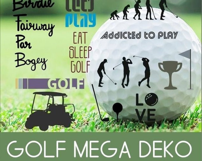 GOLF MEGA DEKO incl Golf doodles, as svg, dxf plot file and png to print