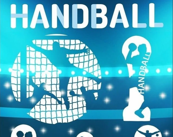 HANDBALL Shadows-5 cool handball motifs and lettering, as SVG DXF plot file plotter file and png to print