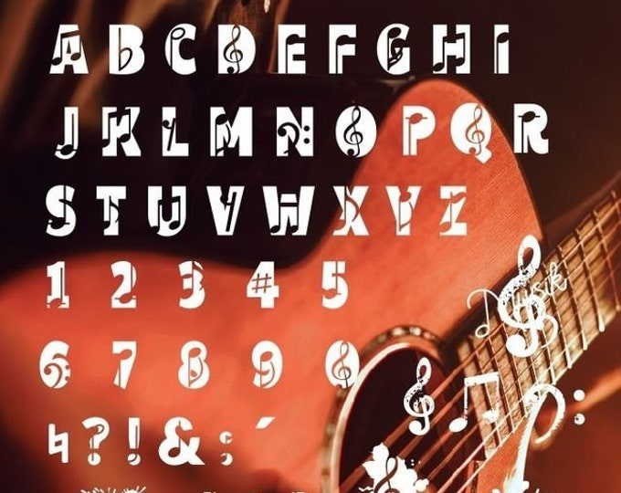 MUSIK ALPHABET A-Z and 0-9 text motifs and great decoration as plot file in as svg, dxf, pdf, eps
