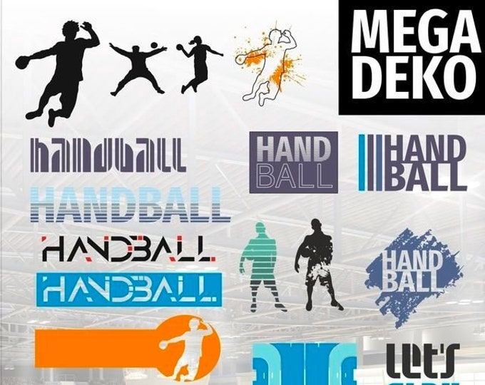 HANDBALL Mega Deco matching the lettering Shadow Sports as SVG DXF plot file and png for printing