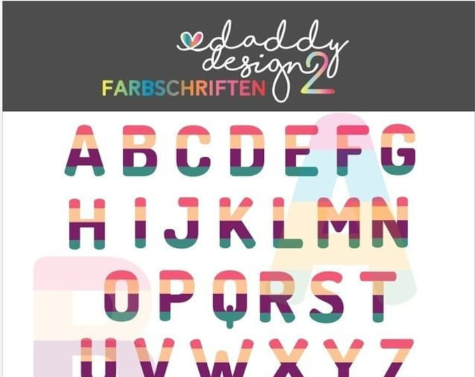Alphabet Colored 4 / 2 Colored ABC 0-9 Lines Version