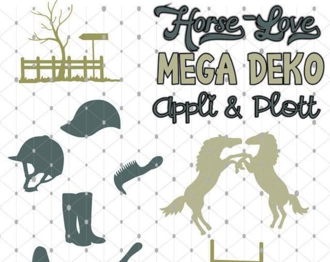 Horse Love Riding Horse Mega Deco SHADOW Plot as sgv, dxf plott file plotter file and png to print