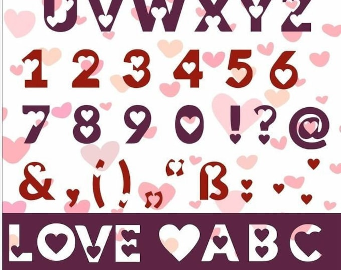 LOVE love hearts ALPHABET ABC and 0-9 and characters as plotting file in as svg, dxf, pdf, eps