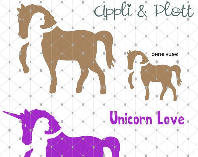 PLOTT HorseLove riding horse horse turic unicorn as SVG DXF plot file and png to print
