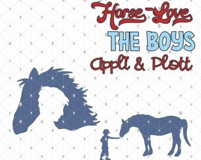 Horse Love Riding Horse - 4 PLOTT Motifs Boy as SVG DXF Plott File Plotter File and png to print