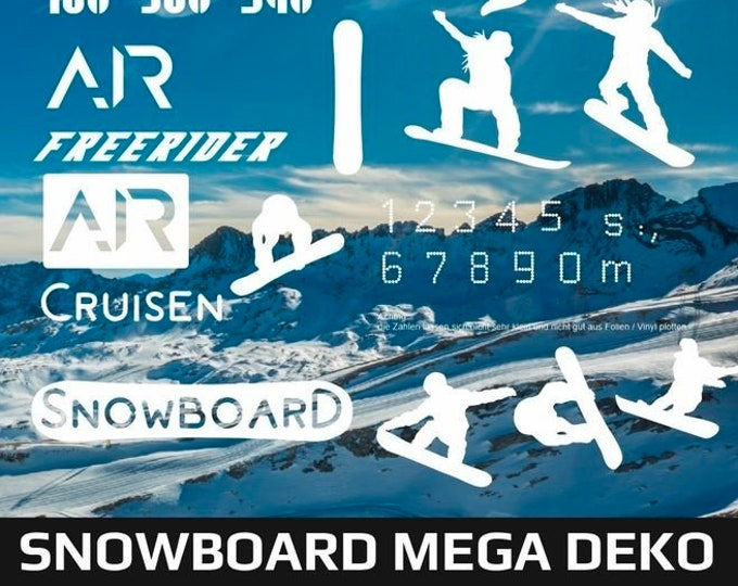 SNOWBOARD MEGA DEKO + bonus, as svg, dxf plot file and png to print