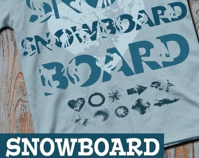 Shadow SNOWBOARD including trash and splash deco & bonus file, as svg, dxf plot file and png to print