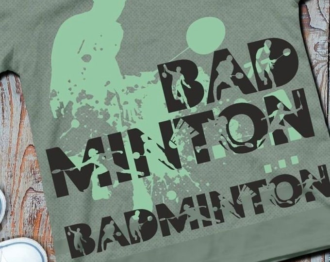 Shadow Sport BADMINTON Including Traesh decoration as SVG DXF plot file and png to print