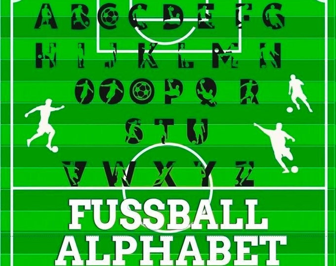 The large FUSSBALL alphabet 33 letters, numbers, decoration as SVG DXF plot file plotter file and png for printing