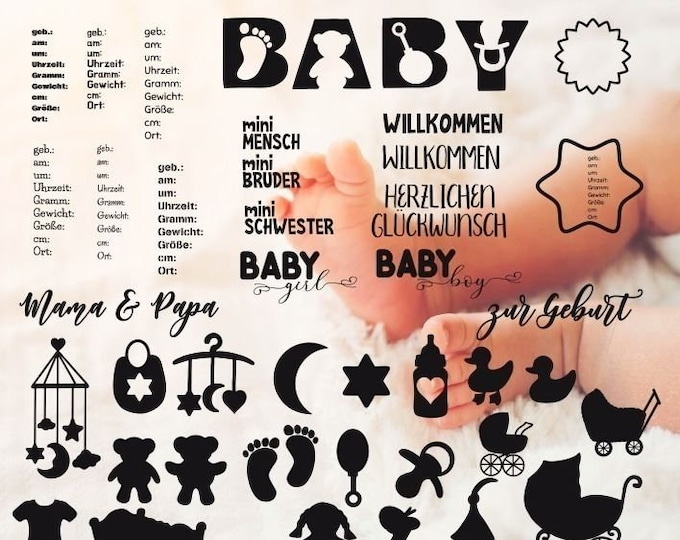 Baby Shadow Decoration for Birth / Baptism