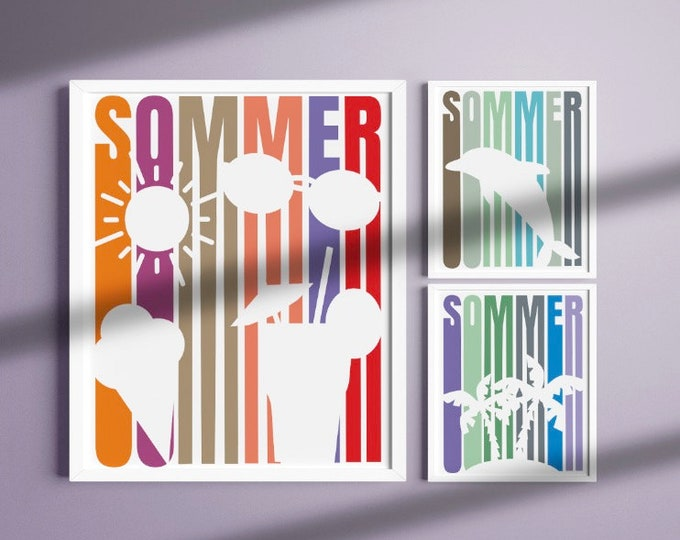 SUMMER 6 Variations Summer Motifs with Shadow Lines