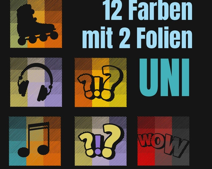 12 COLORS - UNI - 12 colors with only 2 foils - Line Art Effect Plot - without template
