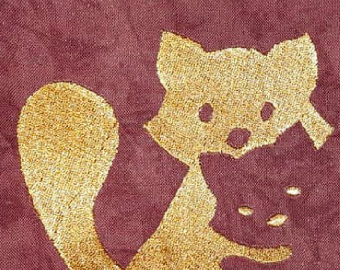 Shadow Embroidery File - Washbaer Fox Cats - 10x10 18x13