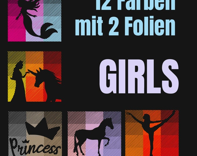 12 COLORS - GIRLS & TEENS - 12 colors with only 2 slides - without template