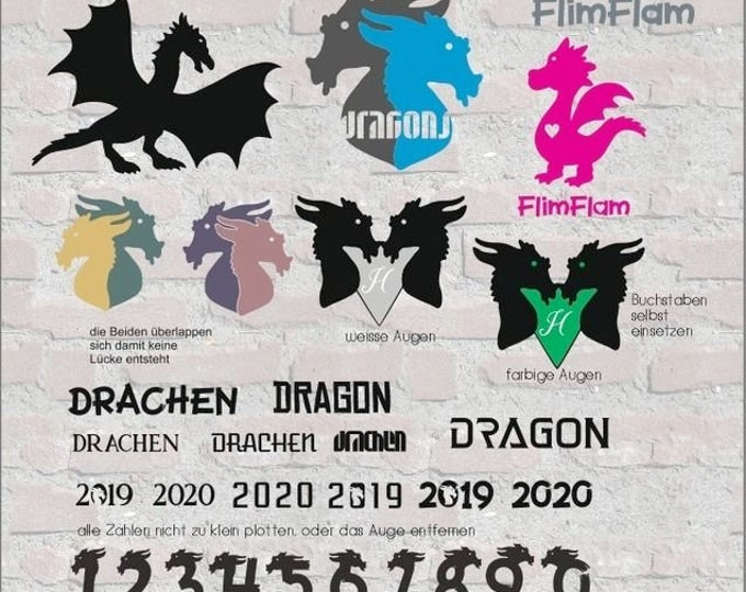 Dragons Dragons including dragon numbers and FlimFlam plotter file svg dxf eps pdf png cutfile