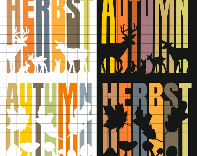 HERBST AUTUMN 4 Variations AutumnMotifs with Animals and Leaves Shadow Lines