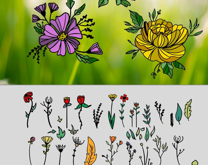 SPARSET - FLOWER POWER Doodle and the 3 Glass Flowers and Bonus Vases