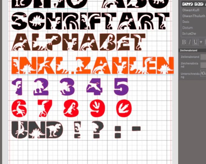 Dino ABC as font AND as svg, dxf plott file