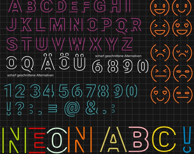 Neon ABC incl. smileys and numbers KOMPLETT