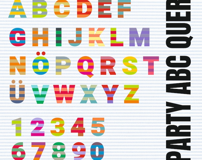 GESTREIFT QUER ABC with A to Z and 1 - 10